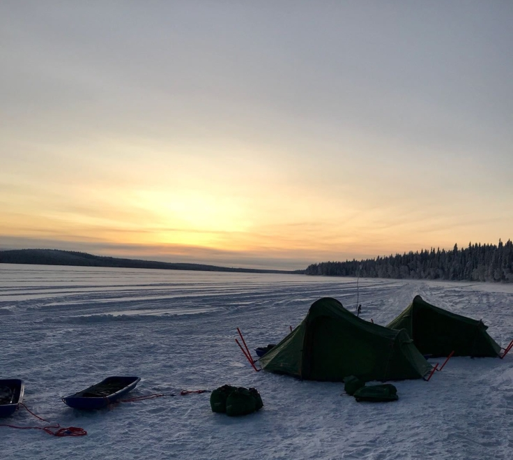 tents on the frozen lake